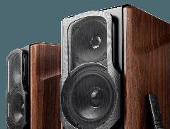 Seconddeal: Edifier S2000MKIII Actieve Boekenplank Speakers 2 stuks - Zwart/Bruin
