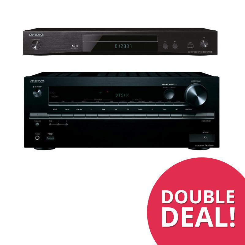 DoubleDeal 6: Onkyo TX-NR646 (Zwart) + Onkyo BD-SP353 Blu-ray Speler (Zwart)
